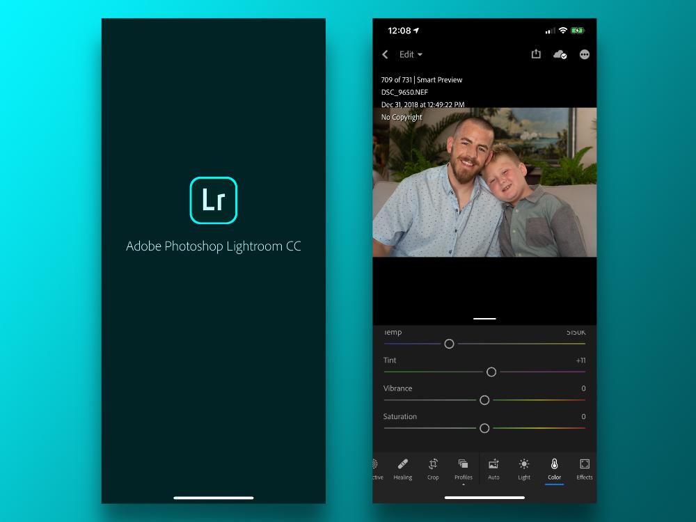 برنامه ویرایش عکس Lightroom برای موبایل